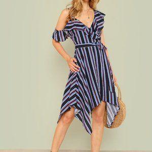 Do + Be Asymmetrical Ruffle Trim Stripe Dress